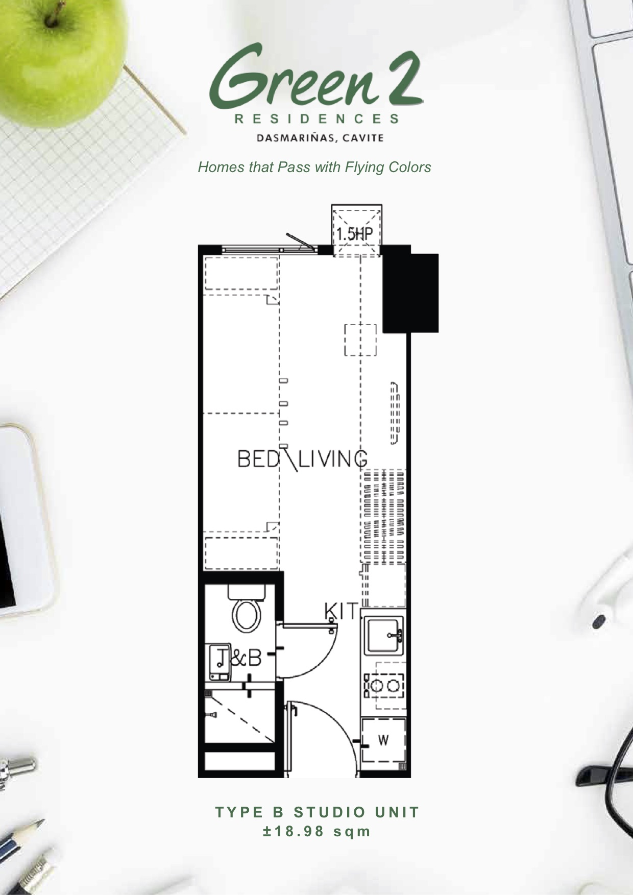 TYPE B STUDIO UNIT ±18.98 sqm